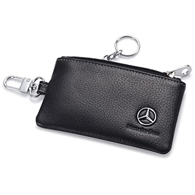 Mercedes Benz Car Key Holder Remote Cover Fob with 1 Metal Keychain - Genuine Leather