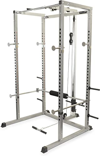 Valor Fitness BD-7 Power Rack Squat Rack w LAT Pull Attachment and Other Power Cage Bundle Options for a Complete Weightlifting Home Gym