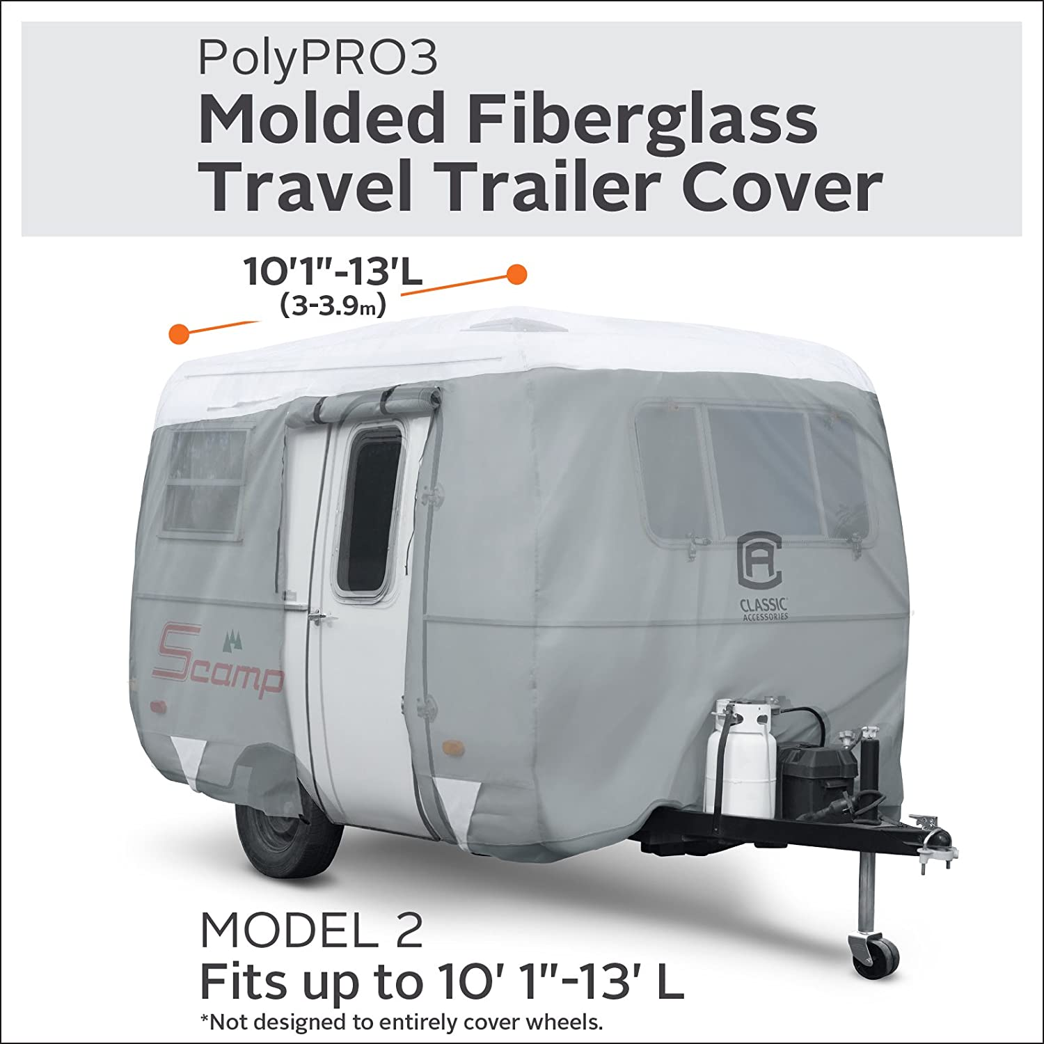 Classic Accessories PolyPro 3 Molded Fiberglass Camping Trailer Cover,  10-13' Long