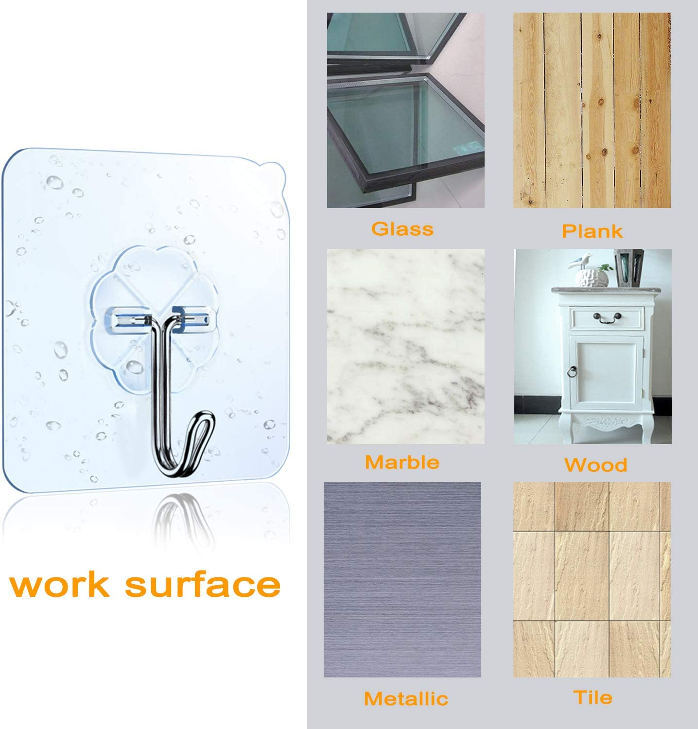 Oilproof Waterproof Hooks for Kitchen Bathroom Cabinet DSMY Set of 27 Self Adhesive Hooks 180/° Rotating Heavy Duty Wall Hooks Transparent Reusable Seamless Hooks 304 Stainless Hook