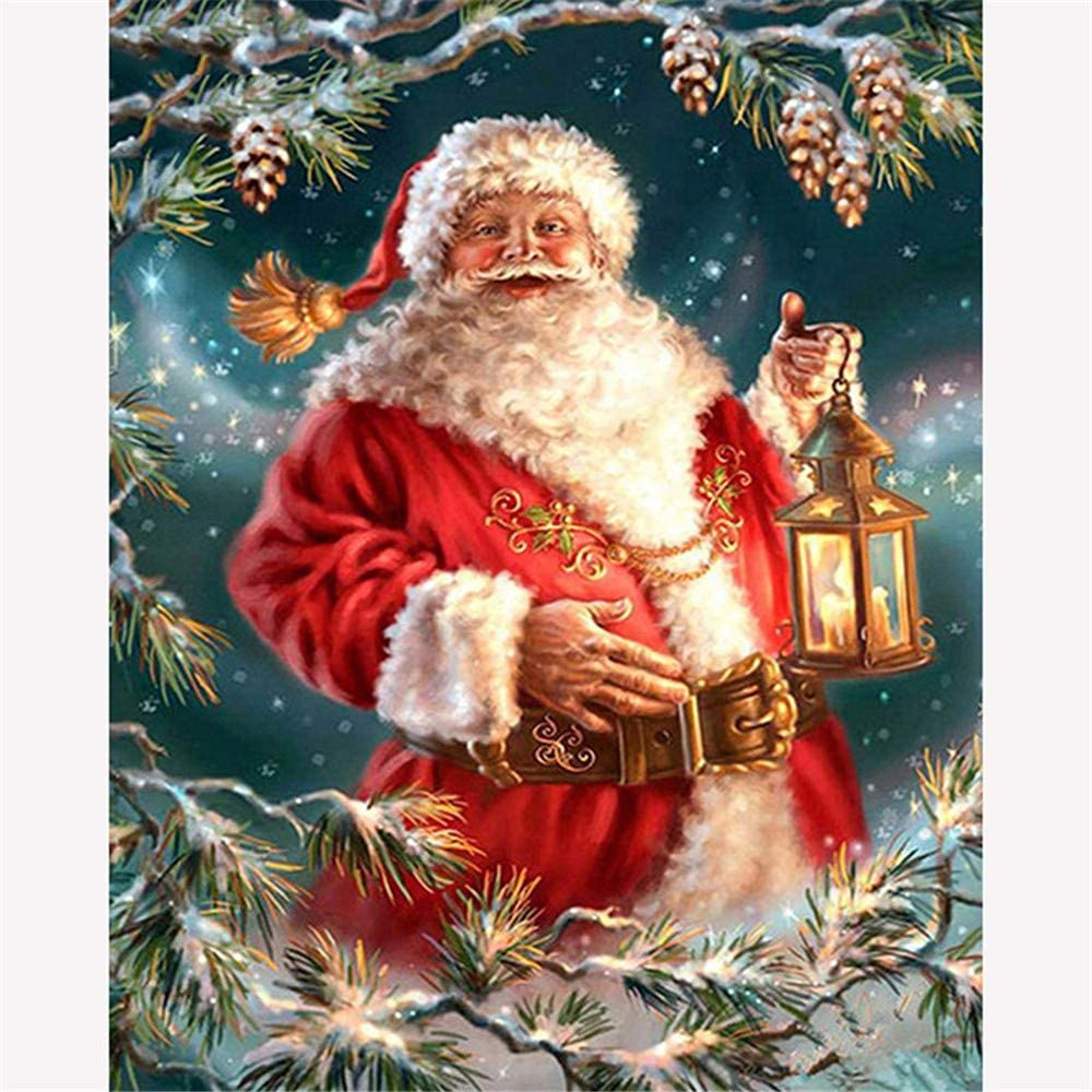 DIY Painting Paint by Numbers for Adults Santa Claus DIY Oil Painting Kits Digital Painting On Canvas with Brushes and Acrylic Pigment Decorations Gifts 40X50 cm Frameless Oil Painting Set by Numbers