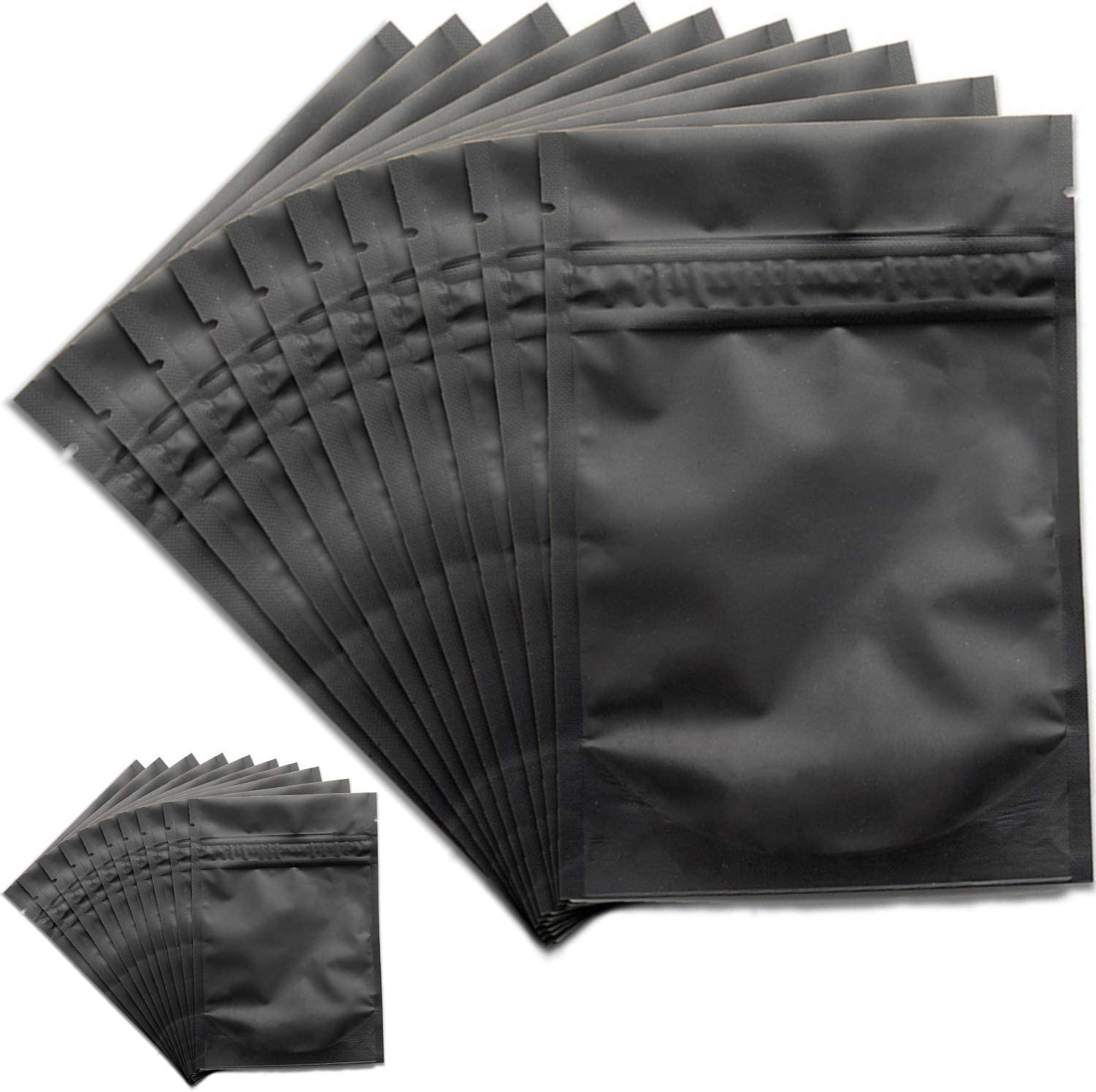 food grade packaging supplies resealable ziplock wedding party favor bags 100-4 oz black stand up pouches foil lined black storage bags