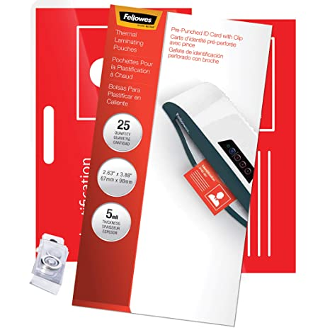 Fellowes 52033 Laminating Pouches, 5mil, 3 7/8 x 2 5/8, ID Size (Pack of 25)