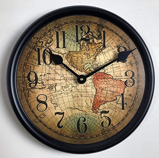 Vincenzo World Map Wall Clock, Available in 8 Sizes, Most Sizes Ship The Next Business Day,