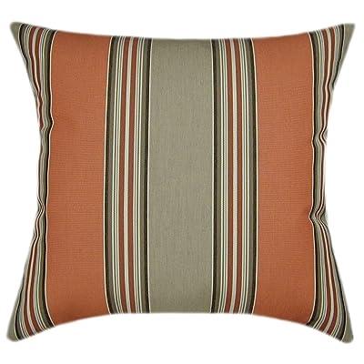 TPO Design, Sunbrella Passage Poppy Indoor/Outdoor Striped Pillow 16x16: Home & Kitchen