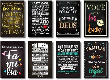 Kit Placas Decorativas Frases Motivacionais Mdf 8 Placas