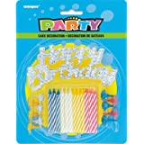 Assorted Striped Birthday Candles with Holders & Happy Birthday Cake Decoration, 25pc