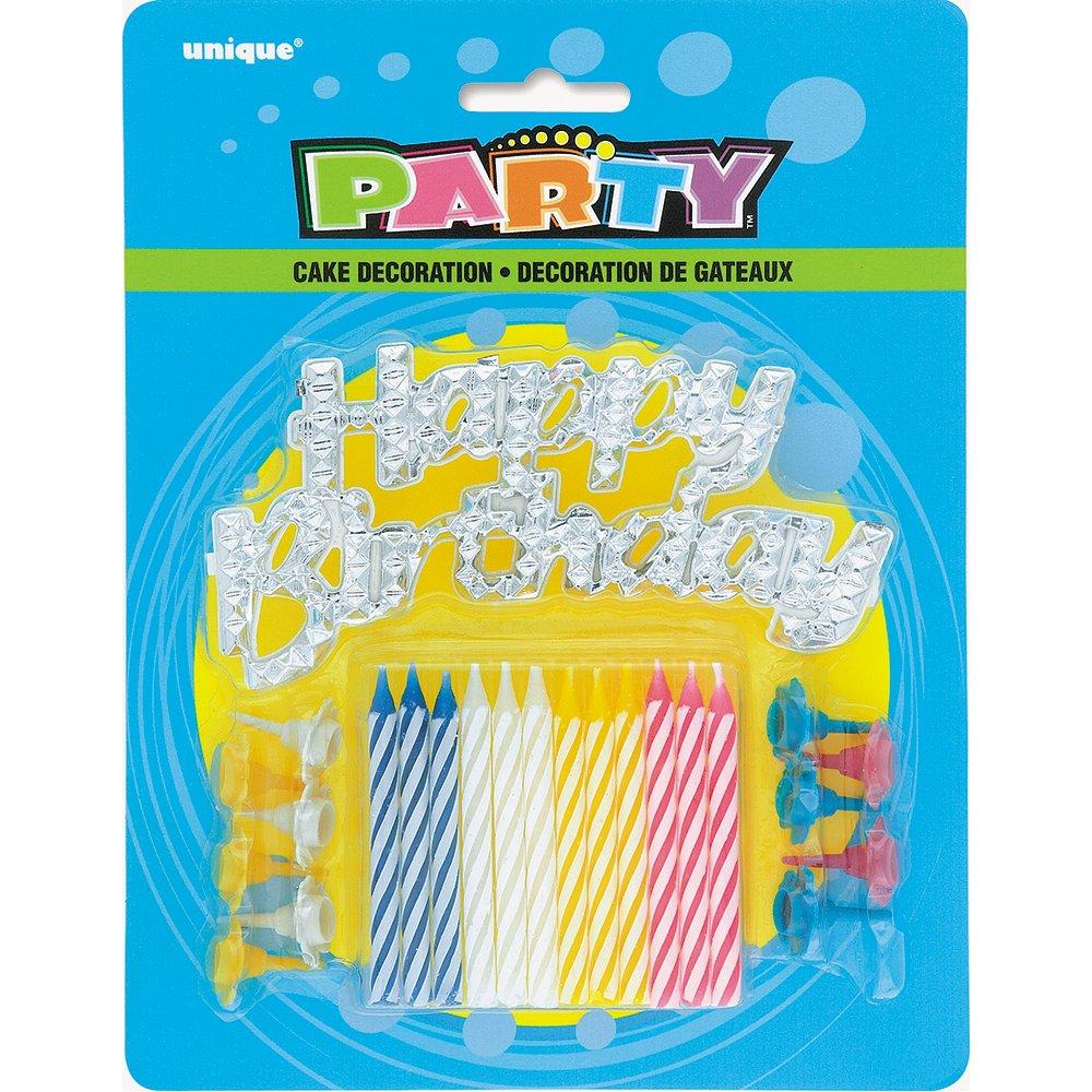 Unique Party Supplies Gestreift Geburtstag Kerzen mit Halter und Happy Birthday Kuchen Dekoration, 25Stück 25Stück 49001