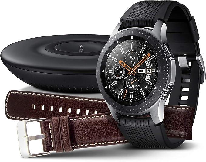Samsung Galaxy Watch 46 mm, plata + cargador y correa de piel [exclusivo en Amazon]: Amazon.es: Electrónica