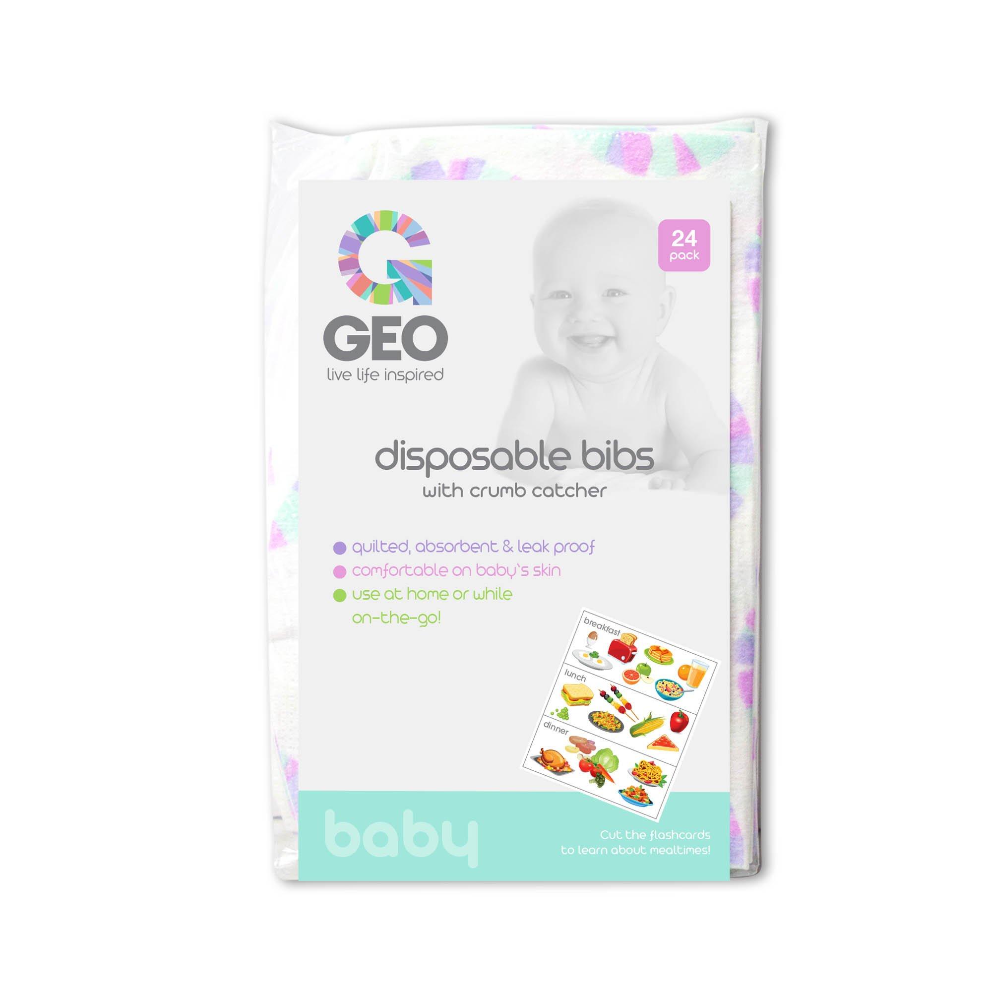 Geo Disposable Bibs, 24pk