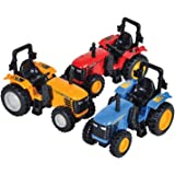 Die Cast Pull-Back Monster Tractor, Pullback Farm Tractor, Pack of 3 Pullback Trucks, Huge Tractor inches, 3 Different Colors, By 4E's Novelty