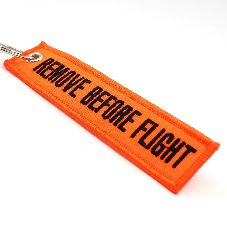 Amazon.com: quitar antes de vuelo Llavero – Naranja Neón ...