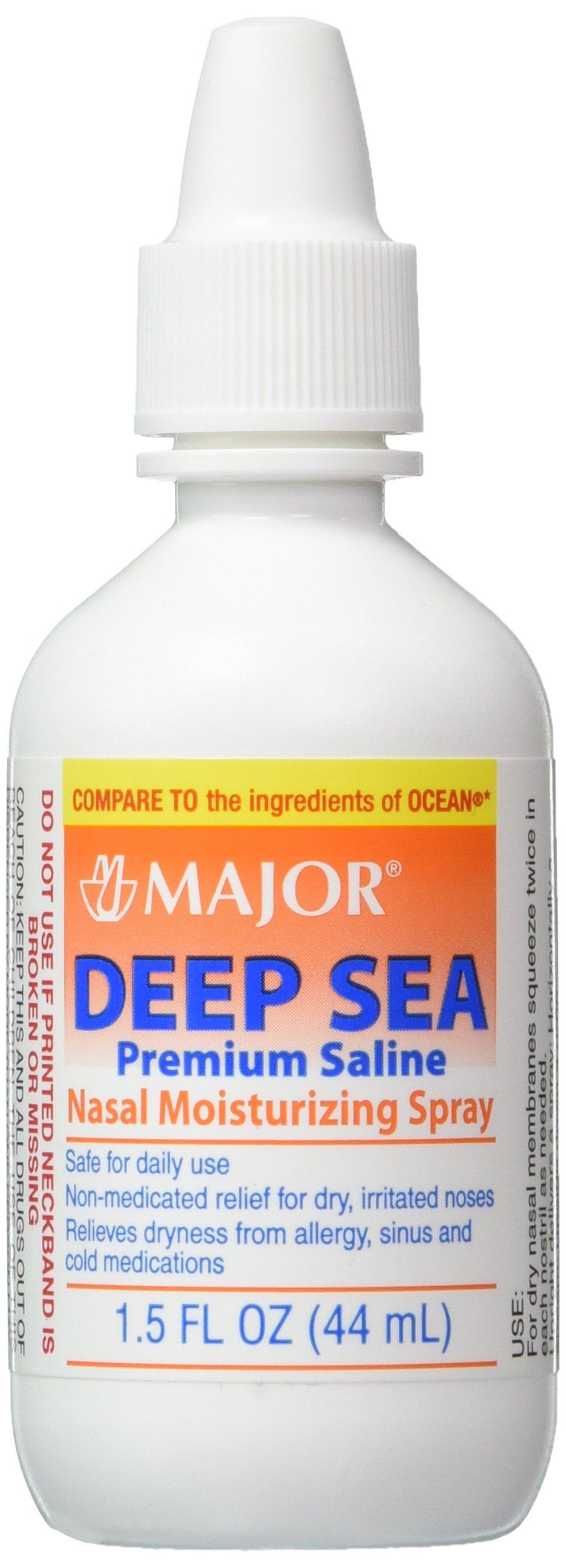 Deep Sea Saline Nasal Spray Generic for Ocean Nasal Moisturizing Spray 1.5 oz per Bottle Pack of 12 Bottles