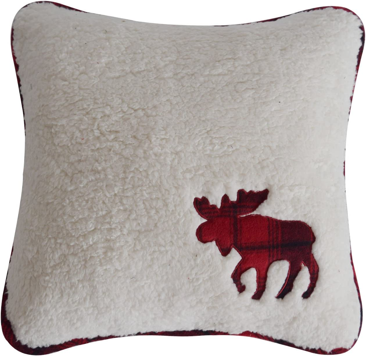 """Gireshome Promotion Chunky Sherpa with Plaid Moose Applique Embroidery Pillow Case, Sofa Cushion Cover, 18"""" x 18"""" 45 x 45 cm"""