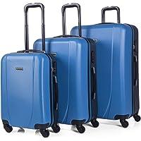 ITACA - Juego de Maletas de Viaje Ligeras 3 Pzs. Set Trolley ABS 4 Ruedas (Cabina + Mediana + Grande) Rígidas y…