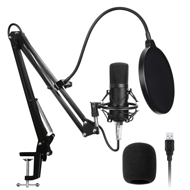 USB Condenser Microphone Kit Computer PC Studio Mic Plug & Play with USB XLR/Pop Filter/Scissor Arm Stand/Shock Mount for Recording Podcasting Broadcasting Sound Recording,BM700 Black