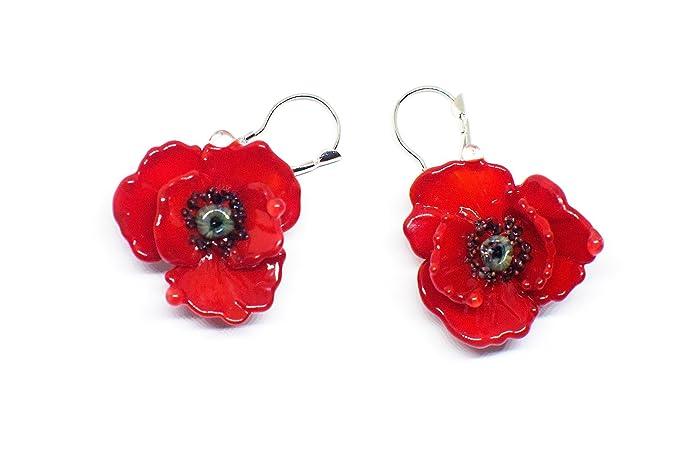 eb95fda9a Amazon.com: Red poppy earrings: Handmade