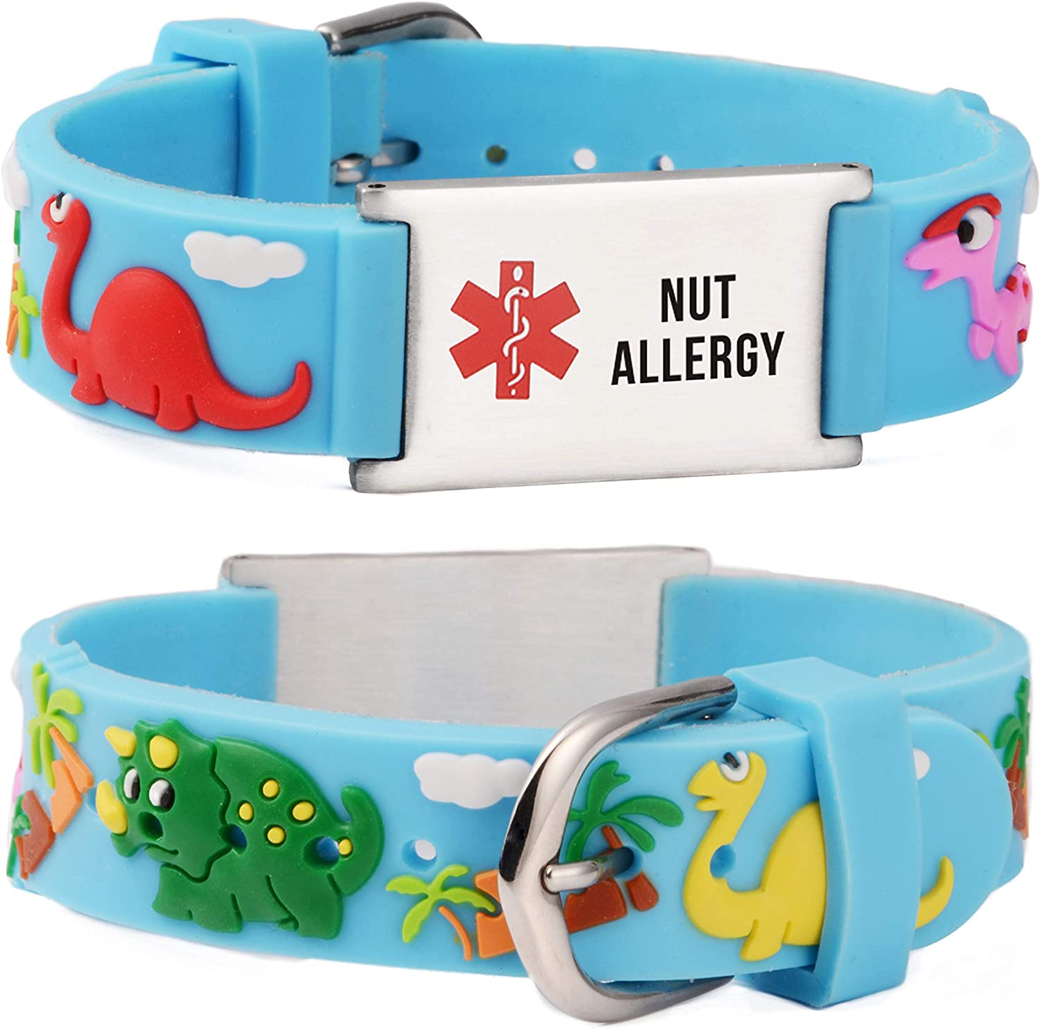 linnalove Cartoon Medical Alert id Bracelets Parents Gift to Son, Daughter, Brother, Sister-Dinosaur-Blue