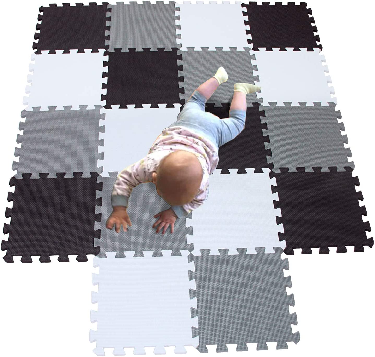 MQIAOHAM playmat Foam Play Tiles Interlocking Play mat Baby Play mats for Kids Floor mats for Children Foam playmats Jigsaw mat Baby Puzzle mat 18 Pieces Children Rug Crawl White Black Grey 101104112: Toys & Games