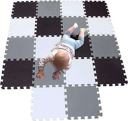 MQIAOHAM Children Puzzle mat Play mat Squares Play mat Tiles Baby mats for Floor Puzzle mat Soft Play mats Girl playmat Carpet Interlocking Foam Floor mats for Baby White Green Purple 101108111