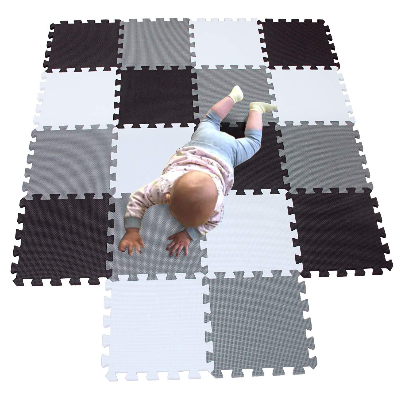 MQIAOHAM playmat Foam Play Tiles Interlocking Play mat Baby Play mats for Kids Floor mats for Children Foam playmats Jigsaw mat Baby Puzzle mat 18 Pieces Children Rug Crawl White Black Grey 101104112 by MQIAOHAM