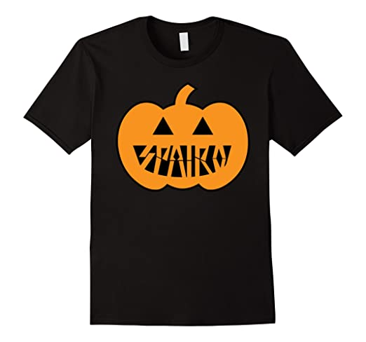 Black shirt with drawing of jack-o-lantern with SPAIRO written using the jack-o-lantern's teeth