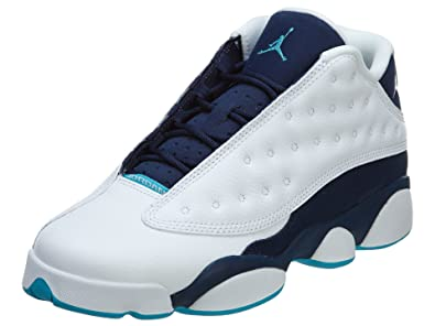 sports shoes daa59 4e186 NIKE Jordan Kids Retro 13 Low White/Midnight Navy/Turq. Blue/MET 310811-107  4