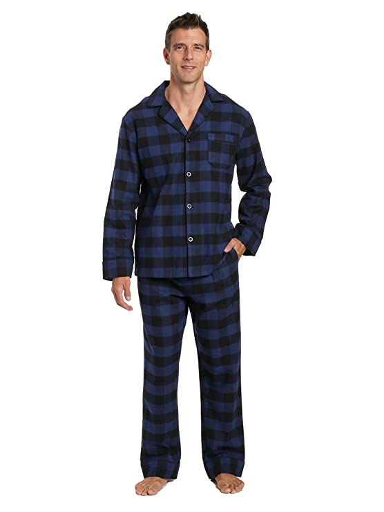 Noble Mount Men's Flannel Pajama Set - Gingham Checks - Black-Blue - Large best men's winter pajamas