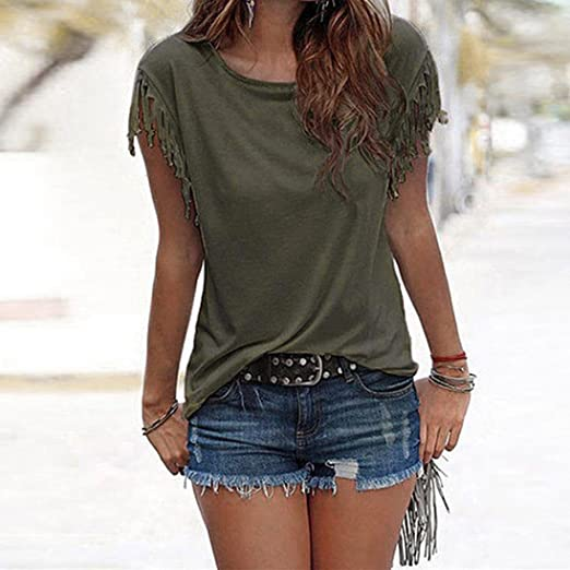 Amazon.com: DondPO Womens T Shirt Casual Loose Blouse Short Sleeve Blouse Sexy Tops Summer Clothes: Clothing