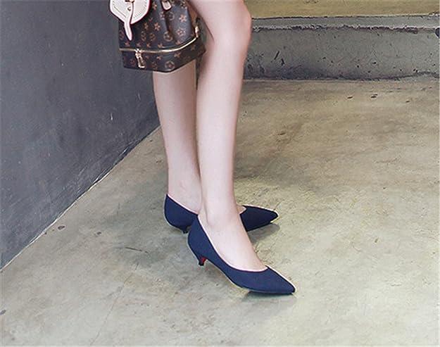 02fa19d5656f8 mogeek Damen Kitten Heel Spitz Pumps Basic Wildleder High Heels Gr.34-43