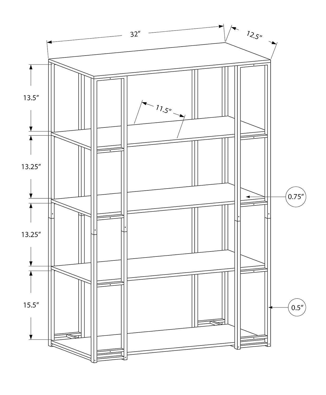 Monarch Specialties I 7243 Bookcase-60 H Silver Metal Cappuccino