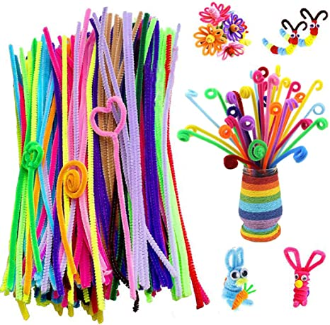 1000 Chenille Craft Stems Pipe Cleaners 30cm Multi Colour Quality 6mm Job Lot