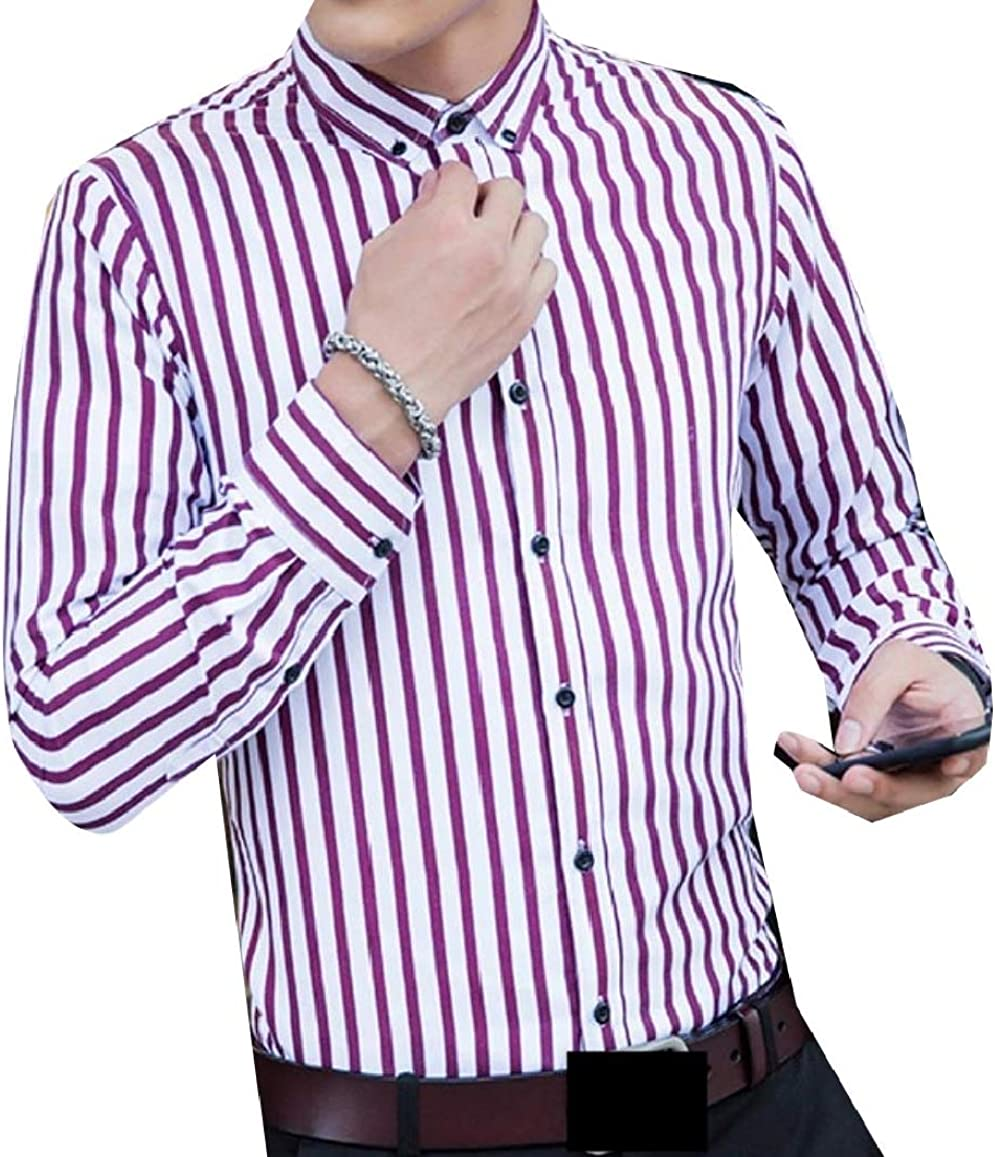 RDHOPE-Men Plus-Size Business Button Stripe Blouses and Tops Shirts
