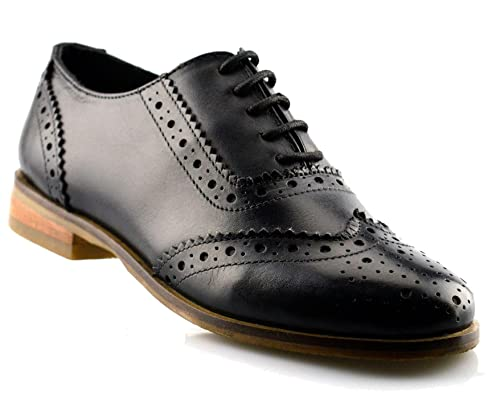 0e523b4998d Ladies Womens Girls Leather Office Work School Lace Up Brogues Shoe Size 3-8  - Black - UK 6  Amazon.co.uk  Shoes   Bags
