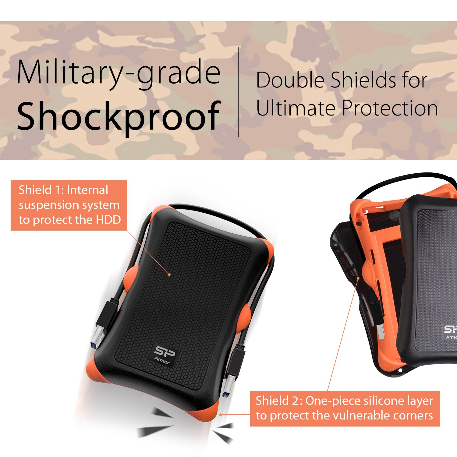 Silicon Power 2TB Rugged Portable External Hard Drive Armor A30, Shockproof USB 3.0 for PC, Mac, Xbox and PS4, Black by Silicon Power (Image #2)