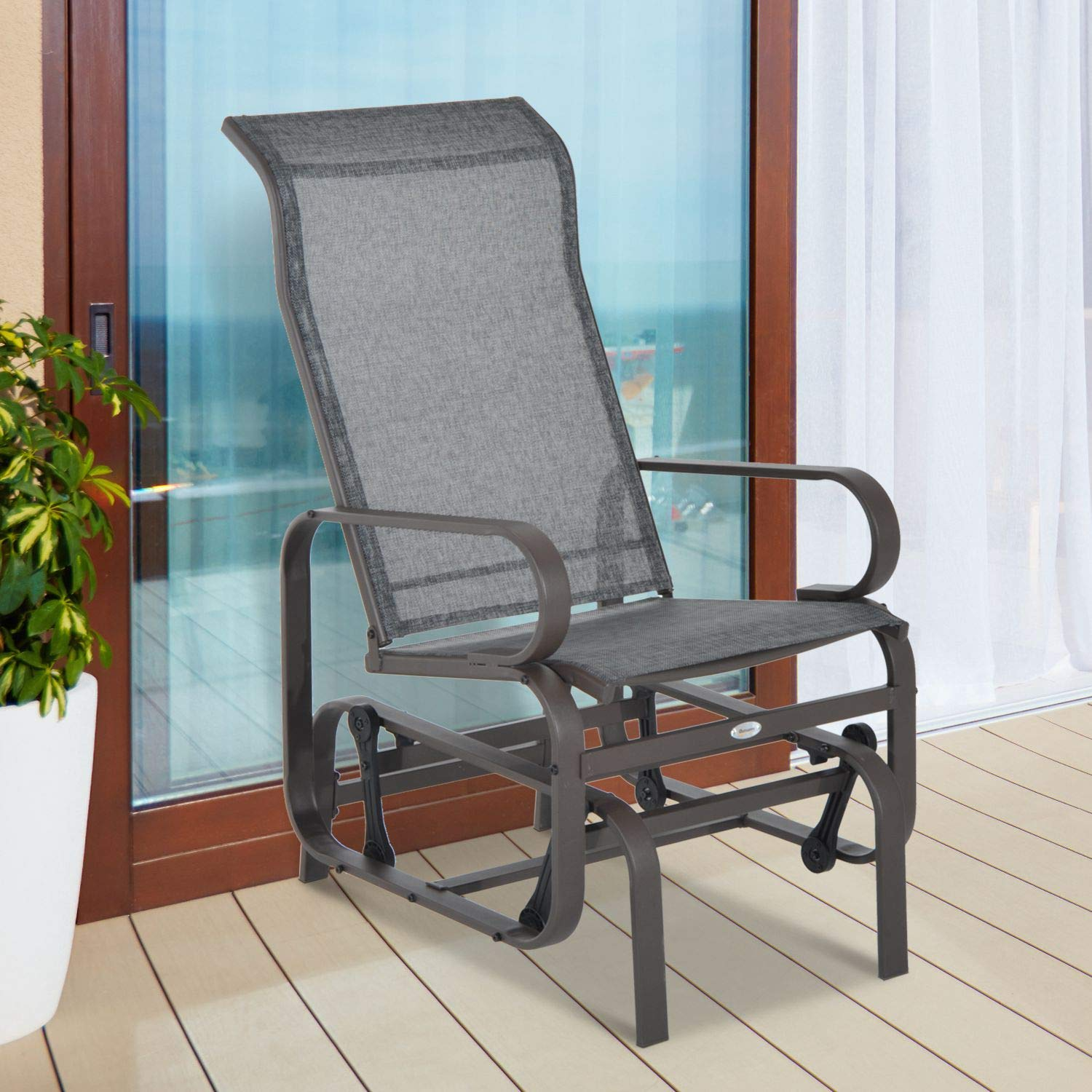 Outsunny Metal Mesh Fabric Single Outdoor Patio Glider Rocking Chair – Brown