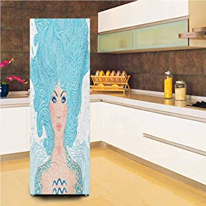Ira FRANKLIN backgrounds 3D Door Fridge DIY Stickers,Woman with Effects Tattoo Tribal Body Signs Symbolism Vinyl Wall Decal Hallway Mural,24x59,for Refrigerator,Pale Peach Aqua Coral