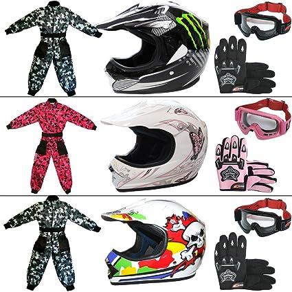 Amazon.es: Leopardo leo-x18 Kids Niño Motocross Moto Casco Y ...