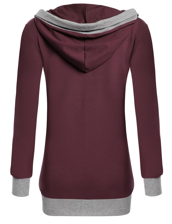 Beyove Womens Cowl Neck Casual Long Sleeve Hoodie Pullover Sweatshirt with Kangaroo Pocket