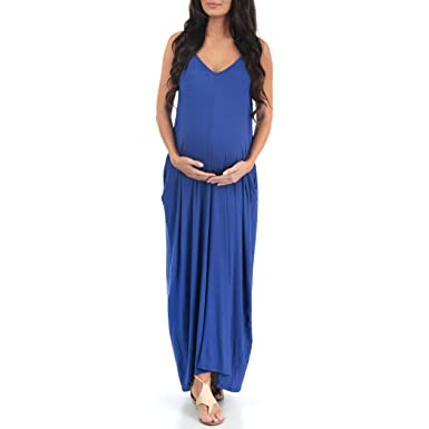 7fe3723f07ed9 Mother Bee V-Neck Cami Maternity Maxi Dress with Adjustable Straps by Rags  and Couture