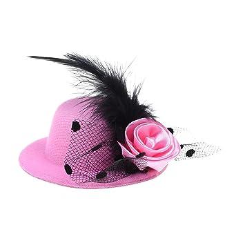 Kloud City Women s Mini Hat Dancing Cocktail Flower Fascinator Feather Hair  Clip Party Headwear 19bef8686ff
