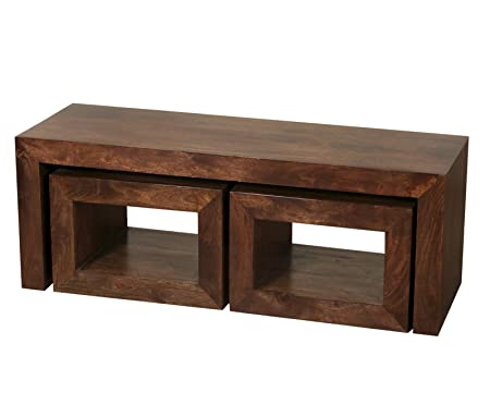 Preferred Homescapes Dakota Long John Coffee Table with 2 Cubes Dark 100  IO13