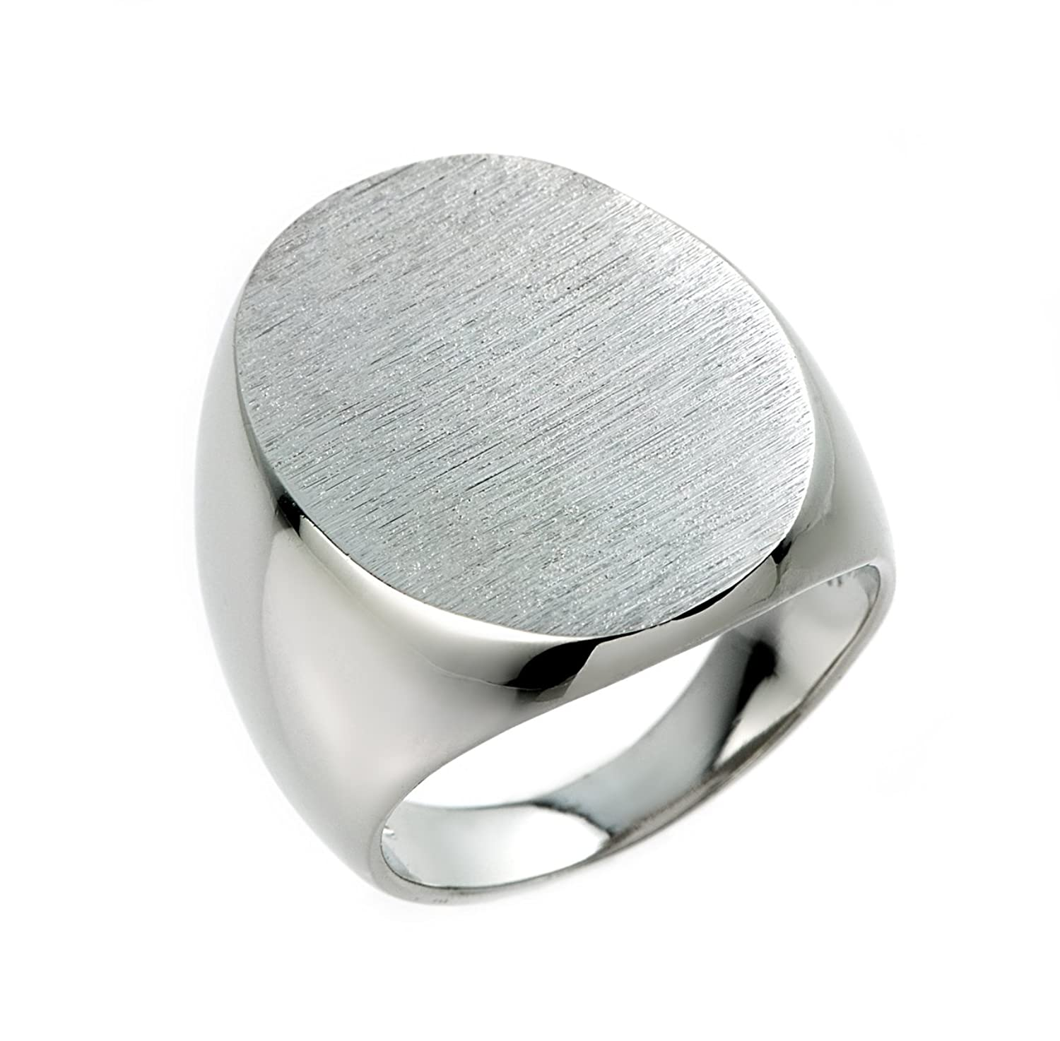 Solid Sterling Silver Engravable Plain Oval Top Signet Ring for
