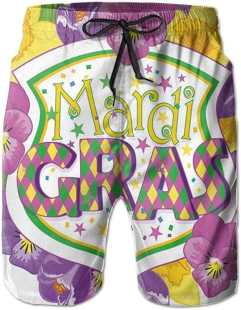 ACFUNEJRQ Mens Colorful Flowers Coat of Arms Cool Beach Shorts Pocket Drawstring Beach Shorts