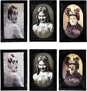 Halloween Decoration 3D Changing Face Moving Picture Frame Portrait Horror Decoration for Horror Party Castle House Home Decoration (3 Pcs)