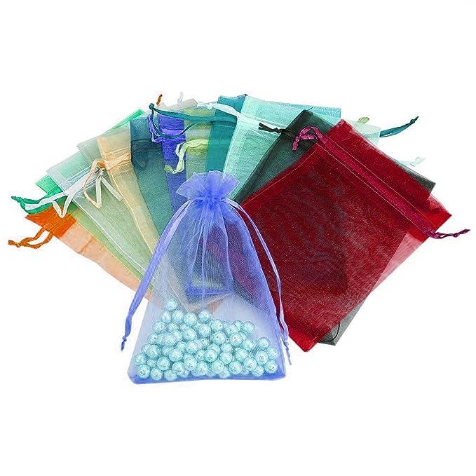 Amazon.com: Cloudyfocus 100 bolsas de organza transparentes ...