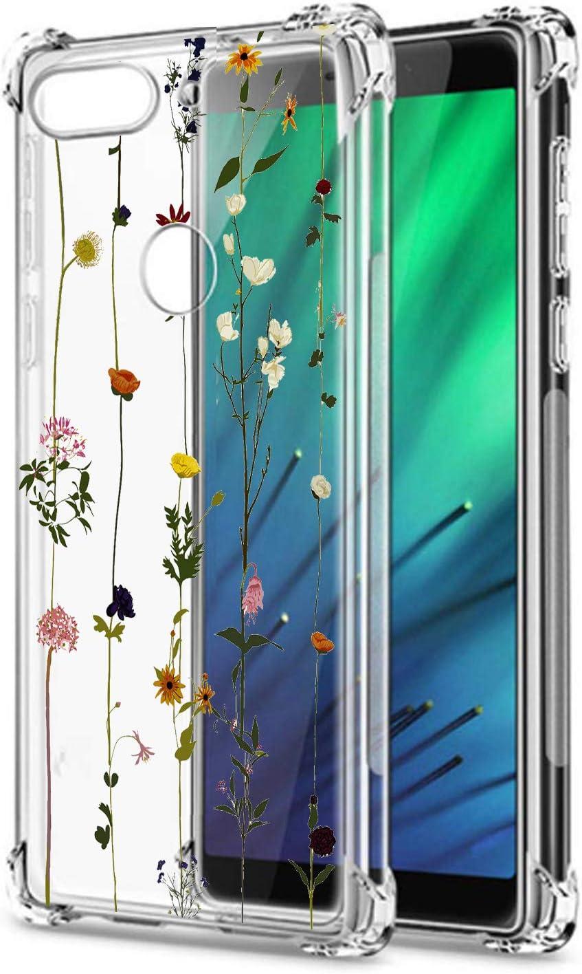 Oihxse Cristal Compatible con Samsung Galaxy M30/A40S Funda Transparente TPU Silicona Estuche Airbag Esquinas Anti-Choque Anti Rasguños Diseño Rosa Flower Caso (Flores A6)