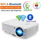 WiFi Projector Wireless Bluetooth, 3600 Lumen 1080p Full HD, LCD LED Home Theater Projector Android for phone iPhone iPad Laptop Blu-ray DVD Player PS3 PS4 XBox TV Box -HDMI USB VGA AV Speaker Remote