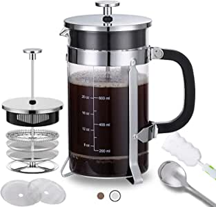 French Press Coffee Maker with 4 Filters - 304 Durable Stainless Steel - Heat Resistant Borosilicate Glass Coffee Pot Percolator, Single Serving Coffee Maker, 34 oz, Silver