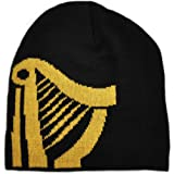 Guinness Black Knitted Beanie Hat With Large Gold Harp Design